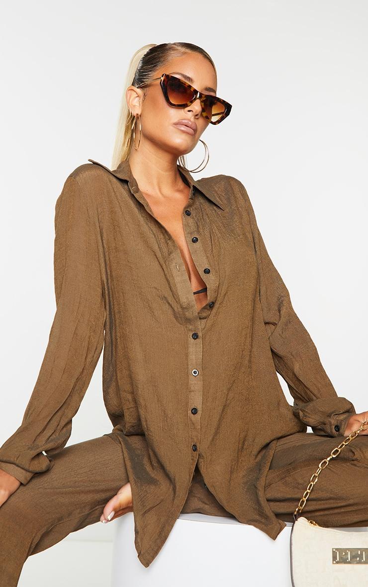 Brown Linen Look Beach Shirt 1