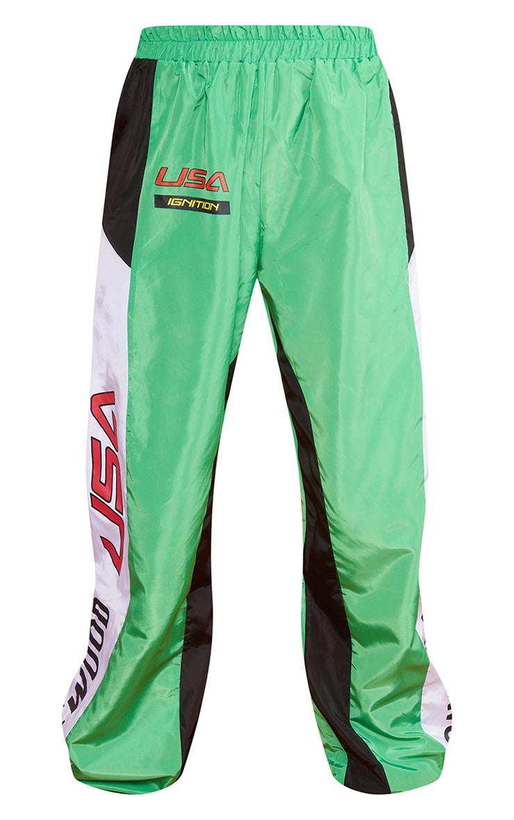 Green Motocross Panelled Cargo Joggers 5