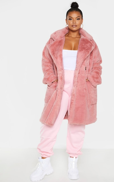 Plus Rose Faux Fur Double Breasted Coat