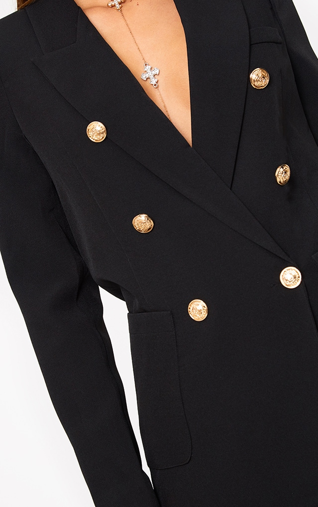 Pari Black Double Breasted Military Style Blazer 5