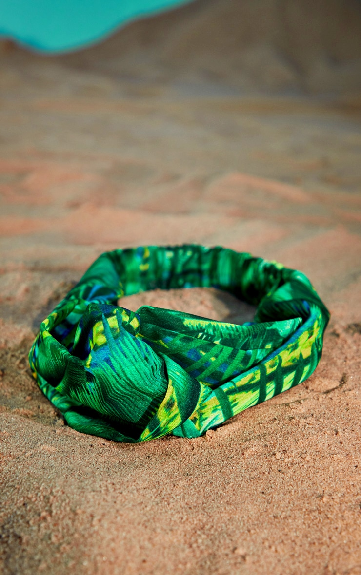 Palm Print Chiffon Headband 2