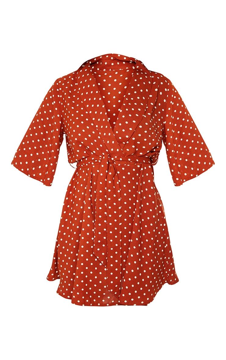 Tall Terracotta Polka Dot Tea Dress 5