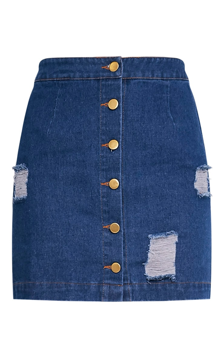 Zulia Dark Wash Denim Distressed Button Through Mini 3