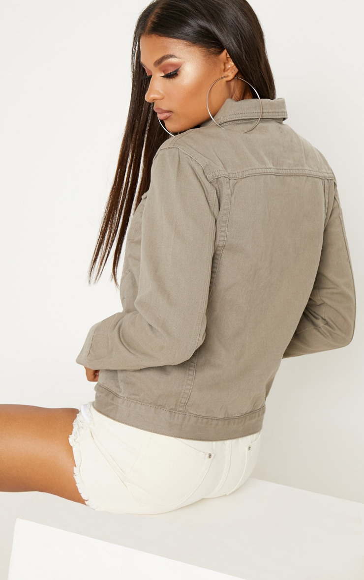Taupe Oversized Denim Jacket  2