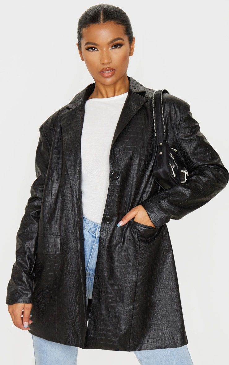 Black Faux Leather Croc Oversized Dad Blazer 1