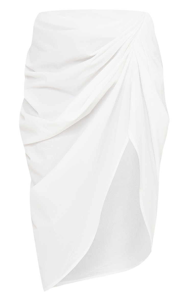 White Textured Woven Ruched Side Midi Skirt 5