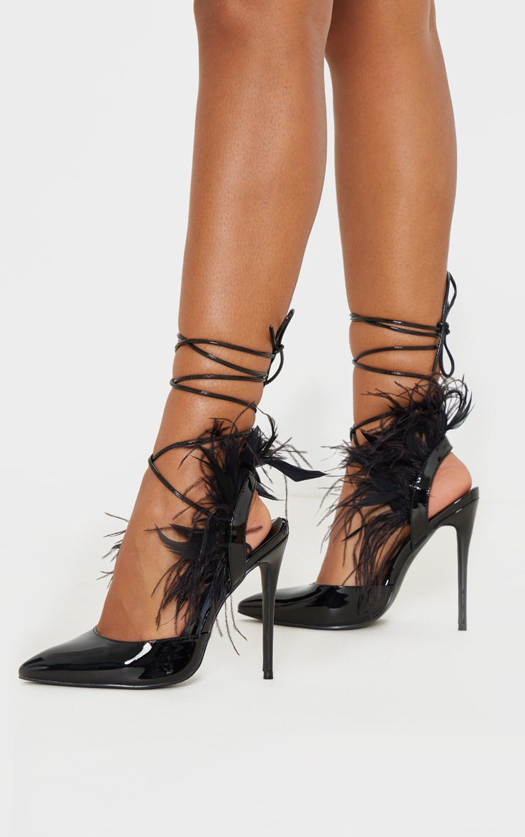 Black Feather Heel Ankle Tie Court Shoe 1
