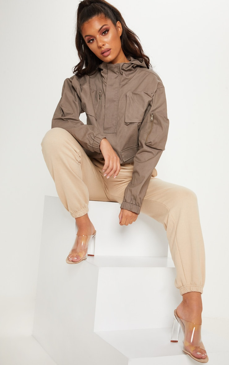 Taupe Pocket Front Cargo Hoodie 2