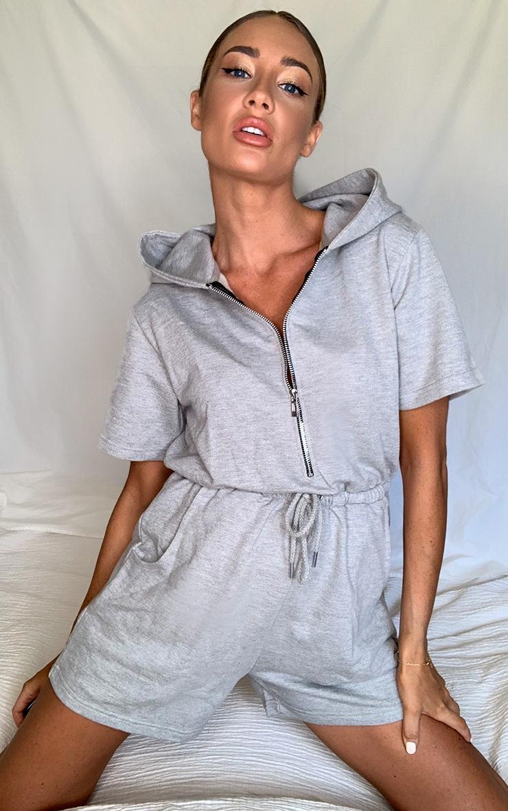 Grey Hooded Zip Front Sweat Playsuit 1