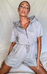 Grey Hooded Zip Front Sweat Romper 1