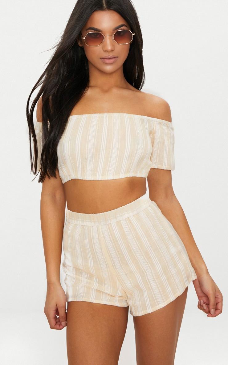 Stone Textured Stripe Shorts  1