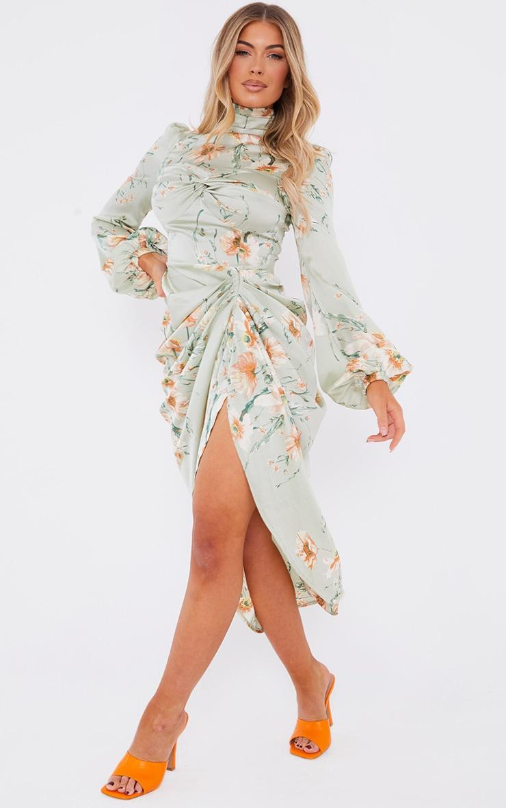 Sage Green Floral Twist Bust Draped Midi Dress
