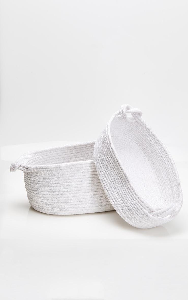 White Large Cotton Rope Storage Basket 4