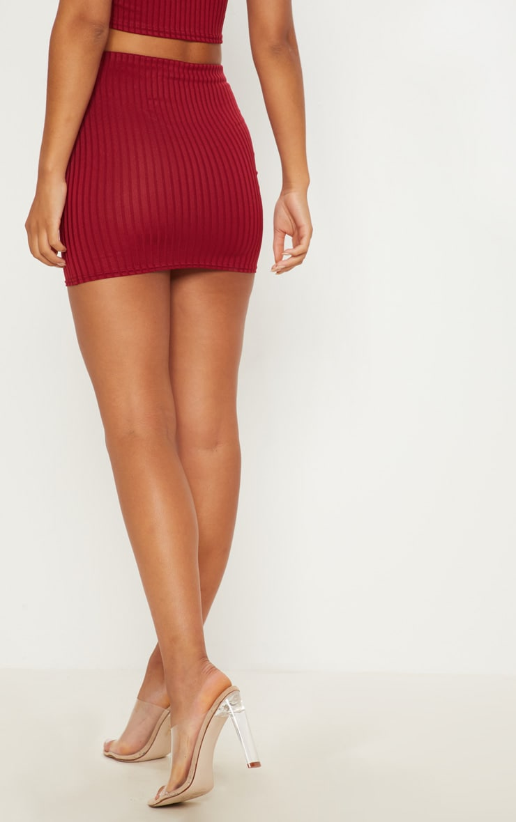 Burgundy Rib Mini Skirt 4
