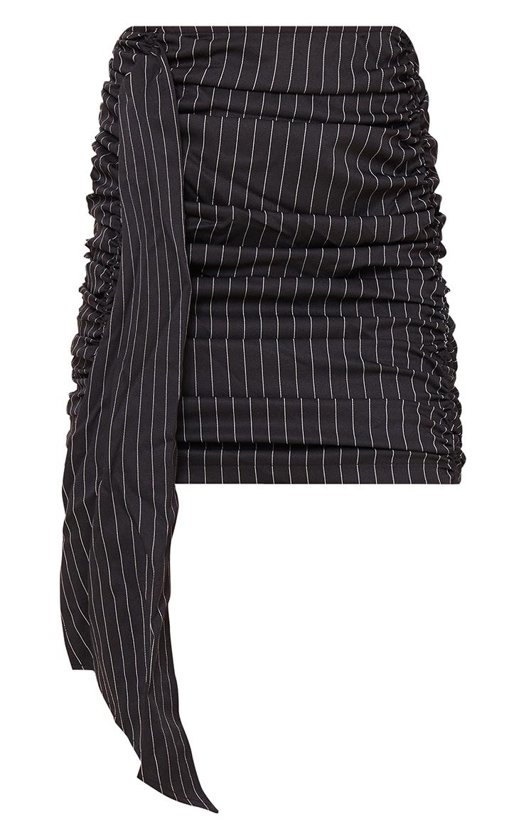 Black Stripe Ruched Drape Front Mini Skirt 6