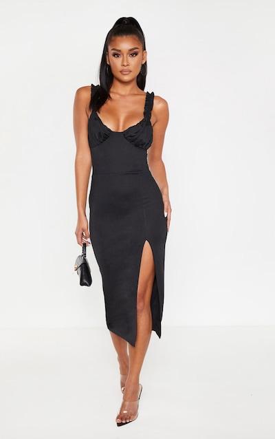 Black Ruched Cup Split Detail Midi Dress