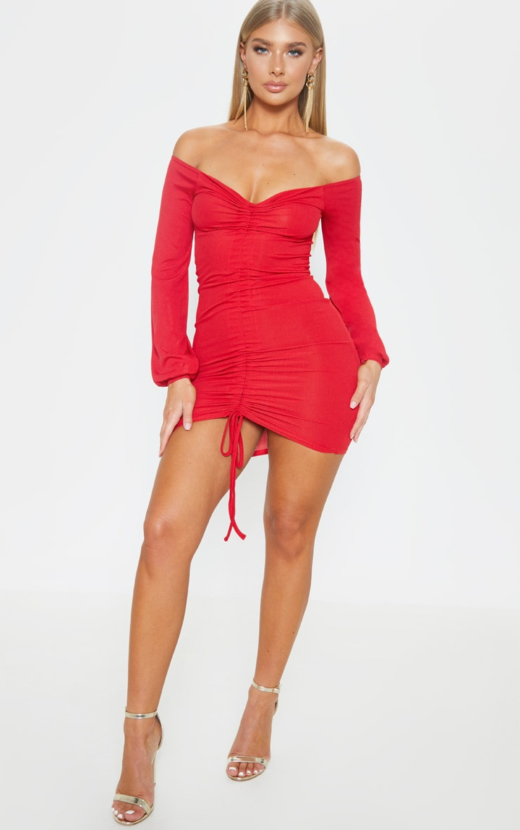 Red Ribbed Ruched Front Bardot Bodycon Dress 4