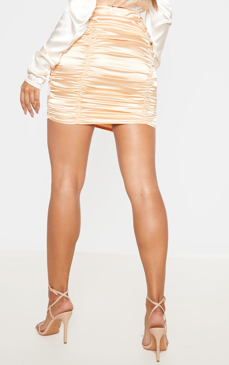 Peach Satin Ruched Detail Mini Skirt  4