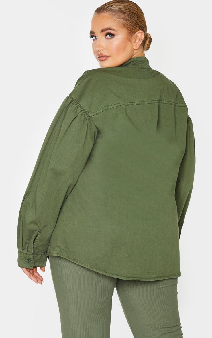 Plus Washed Khaki Puff Sleeve Contrast Pocket Shirt 3