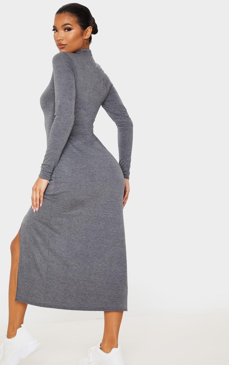 Grey Long Sleeve High Neck Split Front Midi Dress 2
