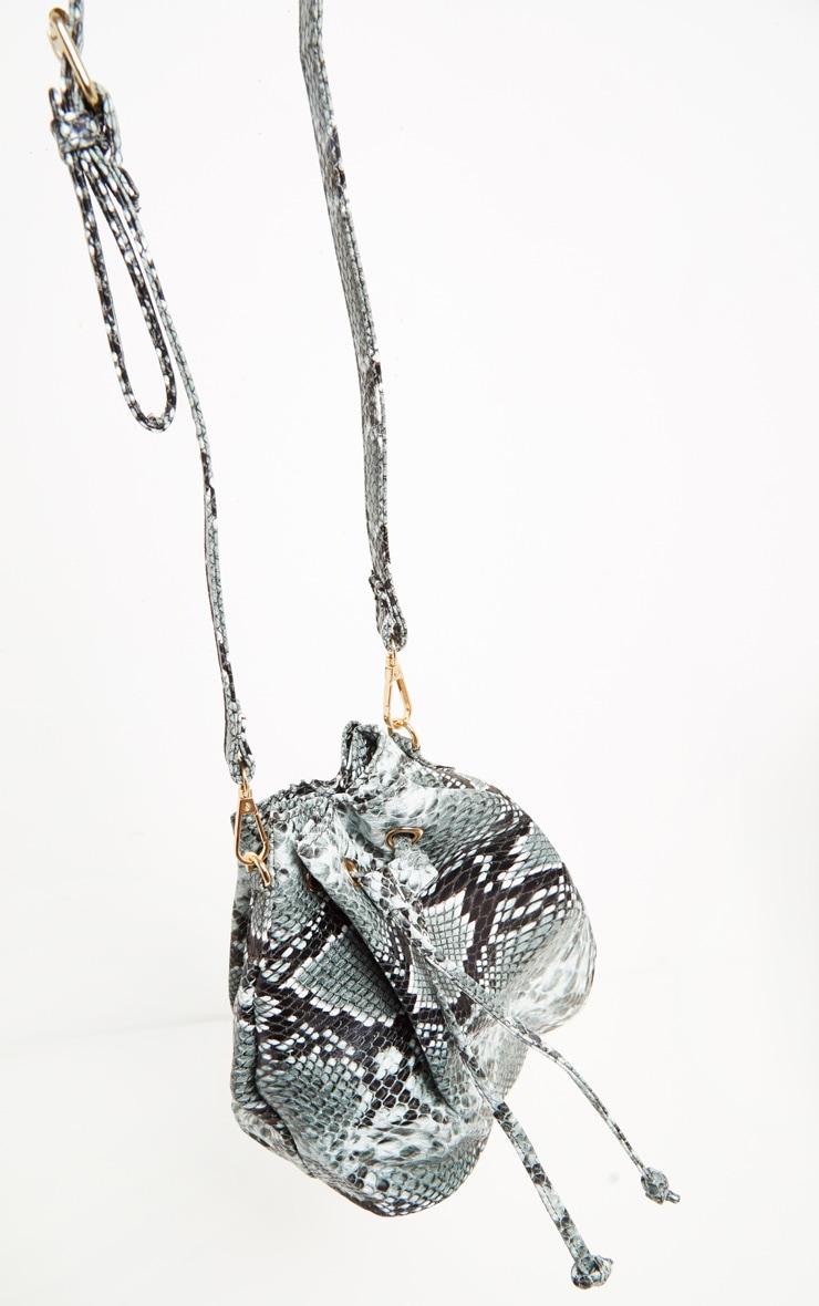 Grey Snake Print Duffle Cross Body Bag 4