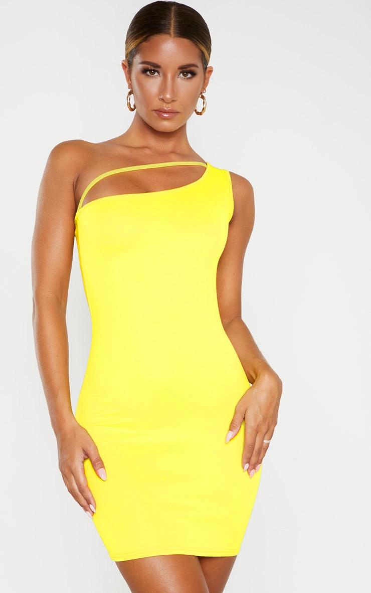 Robe moulante jaune à bretelle unique et lanière 4