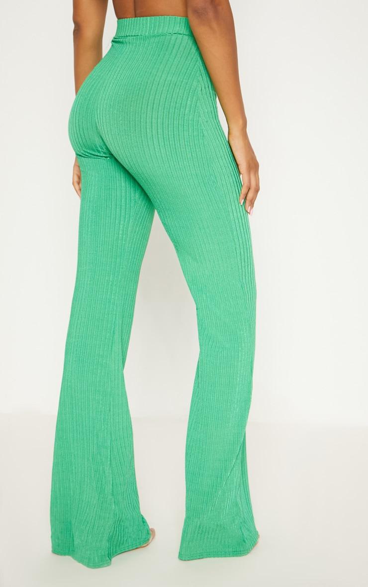 Green Rib Wide Leg Trousers 4