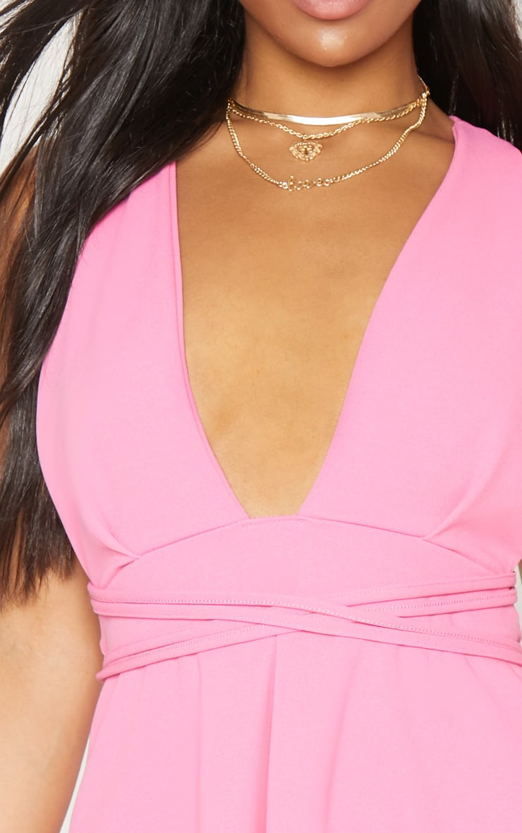 Pink Wrap Detail Skater Dress 5
