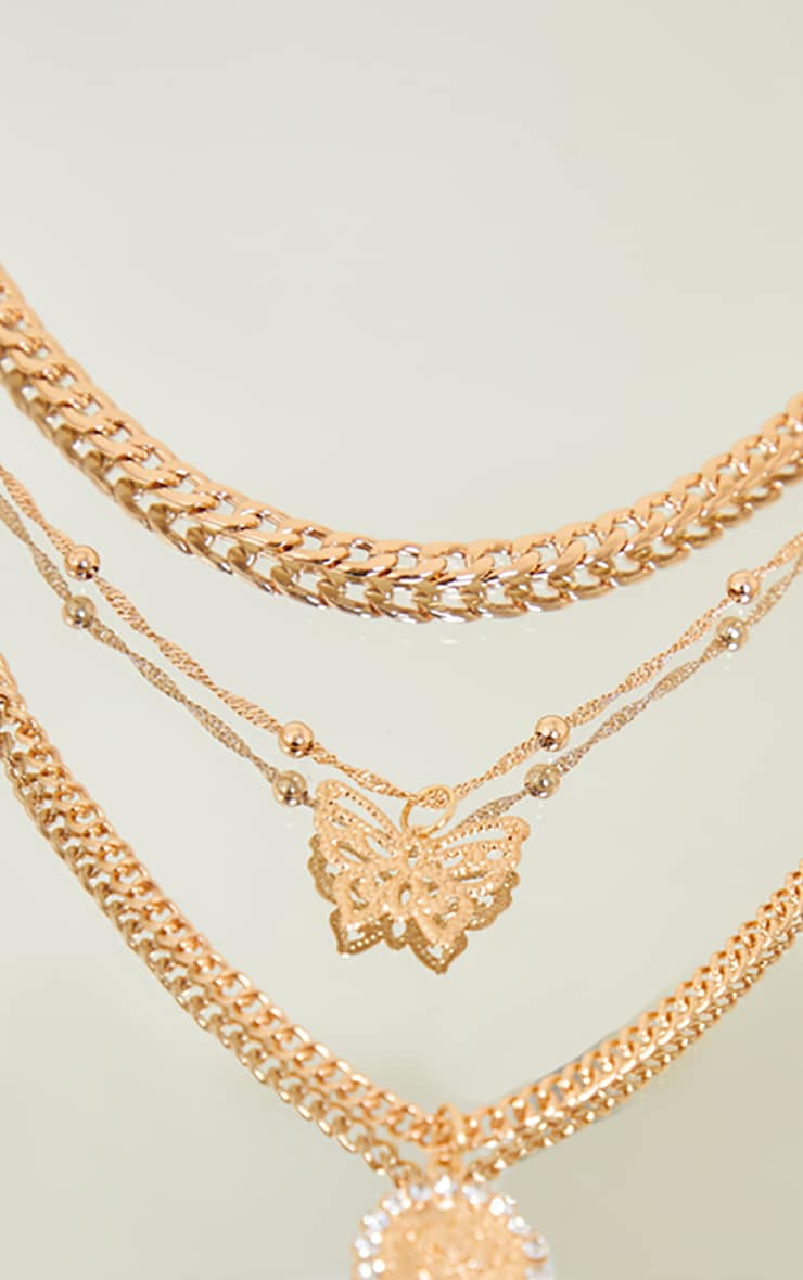 Gold Butterfly Diamantes Layering Necklace 2