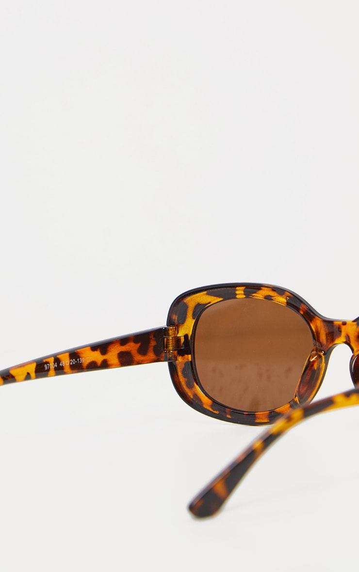 Brown Animal Print Retro Oval Sunglasses 4