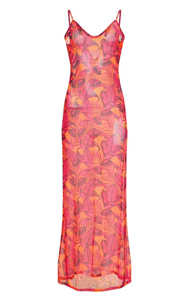 Orange Palm Leaf Mesh Maxi Beach Dress 3