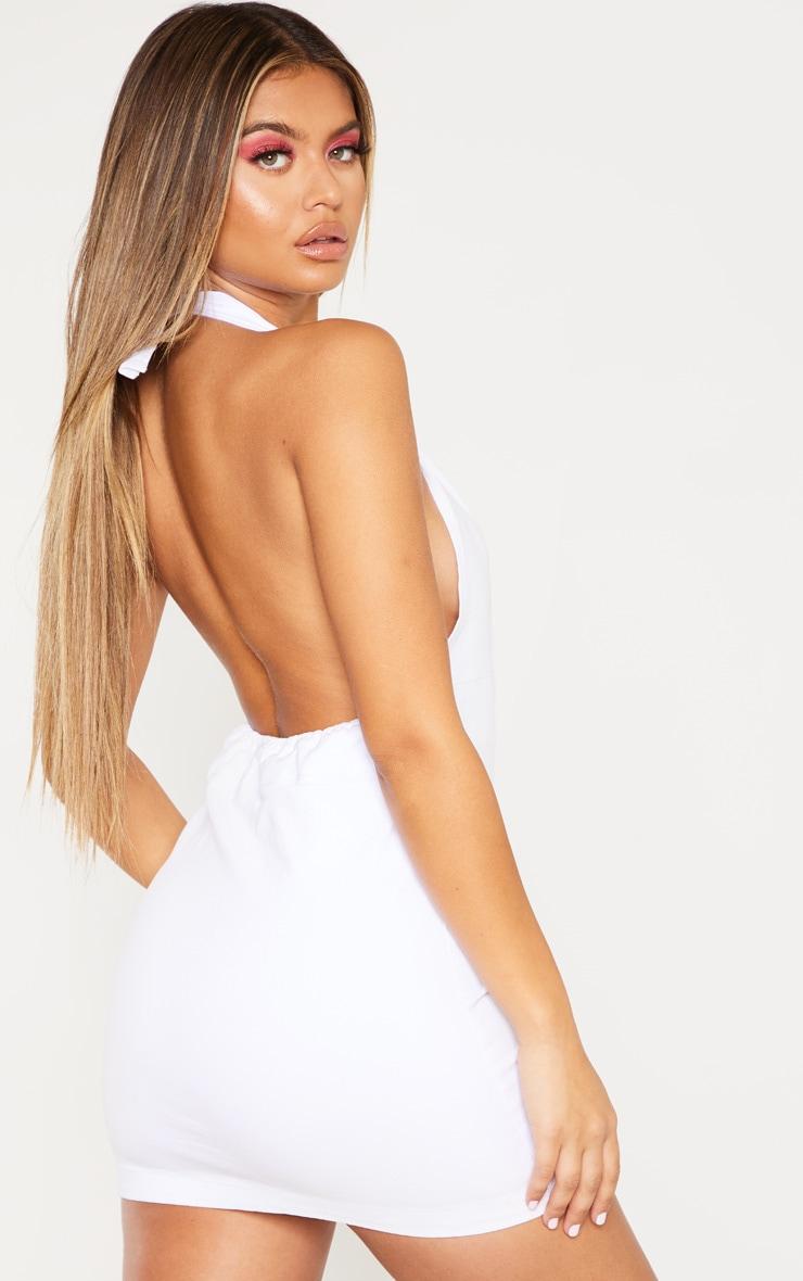 White Halterneck Button Denim Dress 2