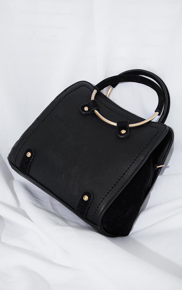 Black Hoop Handle Shoulder Bag 2