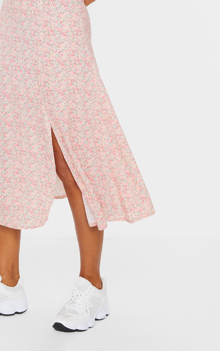 Pink Ditsy Floral Print Floaty Midi Skirt 4