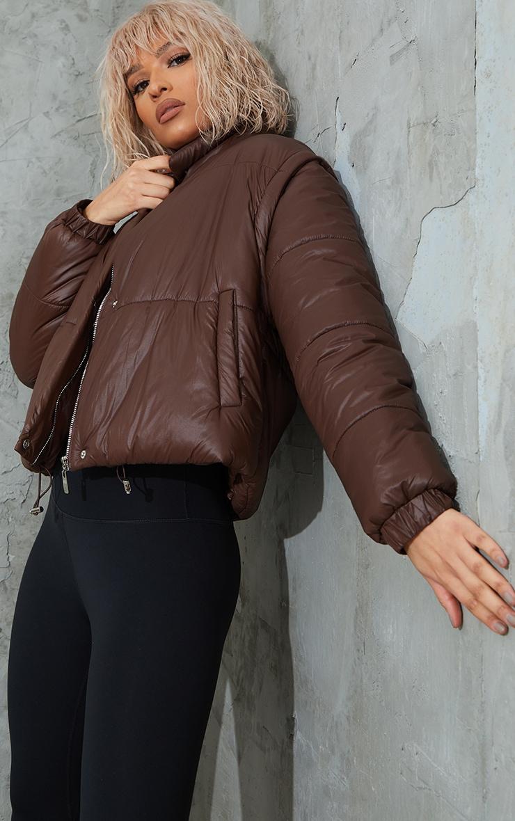 Chocolate Detachable Arm Gilet Puffer Jacket 3