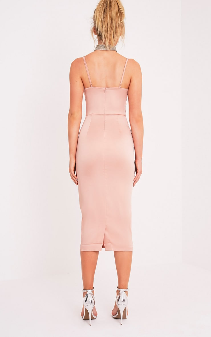 Aisha Nude Satin Panel Midi Dress 2