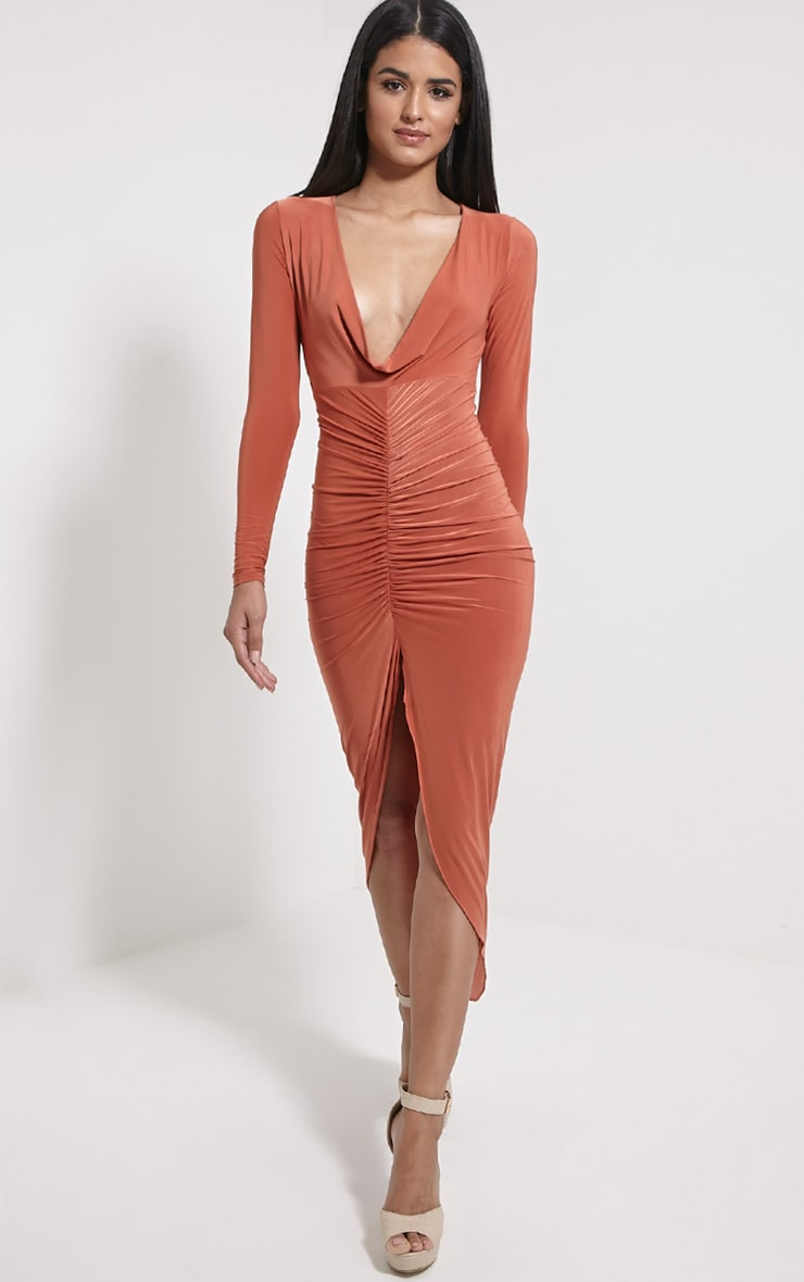 Ellie Rust Slinky Ruched Maxi Dress 1