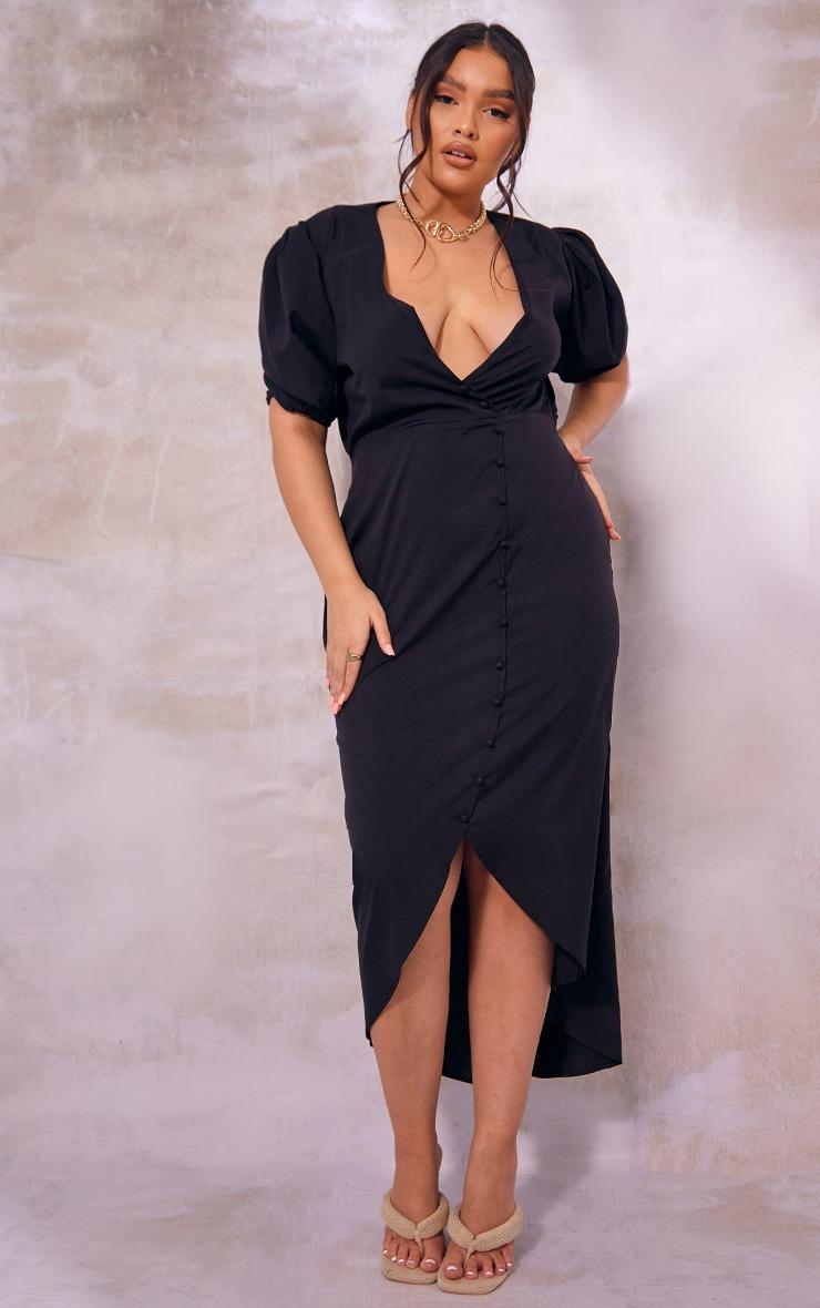 Plus Black Puff Sleeve Button Up Midaxi Dress 1