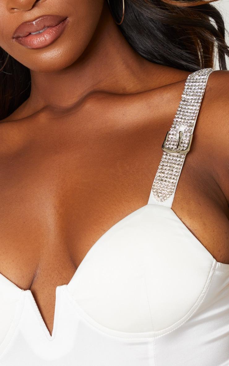 White Diamante Strap V Bar Bodysuit 6