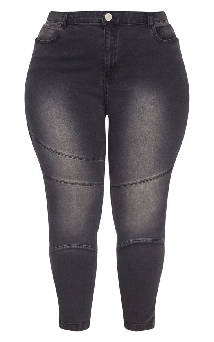 Plus Black  Panel Detail Skinny Jeans 3
