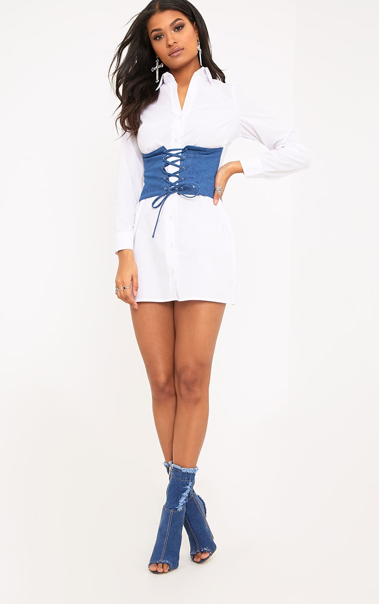 Willow White Denim Corset Lace Up Open Shirt Dress  4
