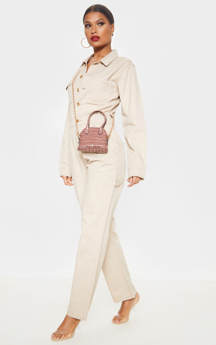 Sand Button Through Oversized Denim Overall 4