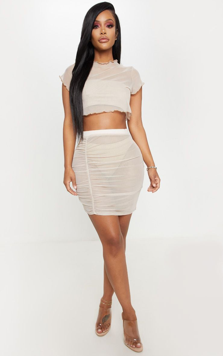Shape Stone Sheer Mesh Ruched Bodycon Skirt  1