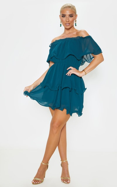 Emerald Green Chiffon Bardot Ruffle Tiered Dress