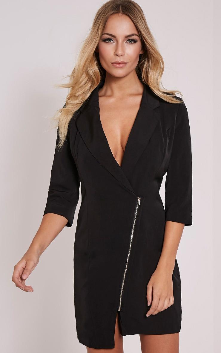 Maryam Black Longline Asymmetric Zip Front Blazer Dress 1