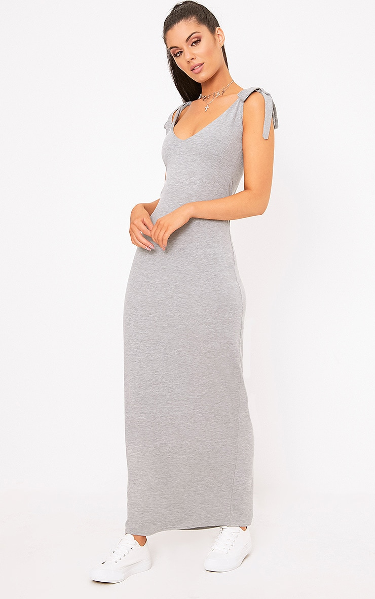 Grey Marl Jersey Tie Sleeve Maxi Dress 4