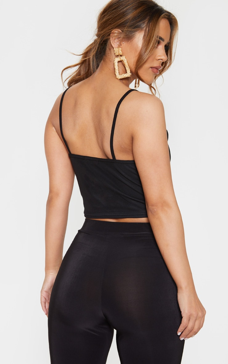 Petite Black Cropped Mesh Overlay Strappy Top 2