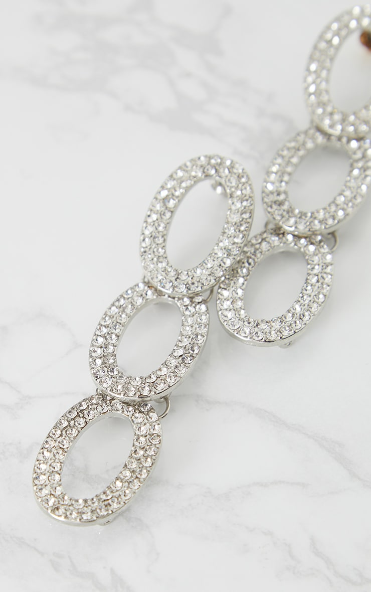 Silver Diamante Loop Drop Earrings 4