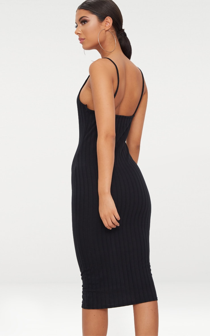 Black Straight Neck Rib Knit Midi Dress 2