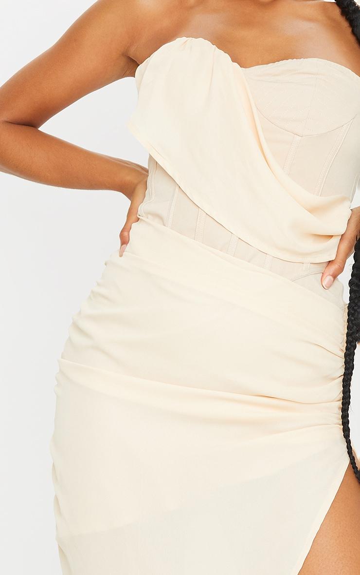 Nude Bandeau Chiffon Drape Detail Bandeau Midi Dress 4